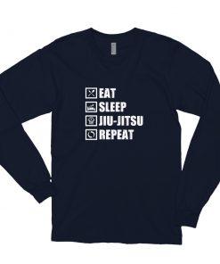Eat Sleep Jiu Jitsu Long Sleeve Shirt Navy