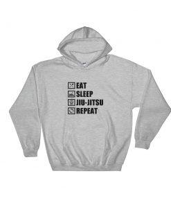 Eat Sleep Jiu Jitsu Hoodie Sport Grey