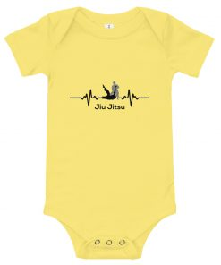 Jiu Jitsu Heart Beat Baby Onesie Yellow