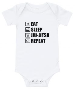 Eat Sleep Jiu Jitsu Baby Onesie White