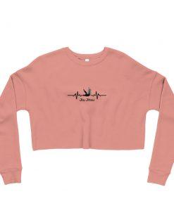 Jiu Jitsu Heart Beat Women's Cropped Sweatshirt Mauve