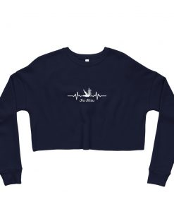 Jiu Jitsu Heart Beat Women's Cropped Sweatshirt Navy
