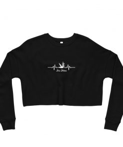 Jiu Jitsu Heart Beat Women's Cropped Sweatshirt Black