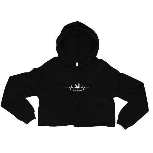 Jiu Jitsu Heart Beat Women's Cropped Hoodie Black