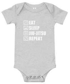 Eat Sleep Jiu Jitsu Baby Onesie Athletic Heather
