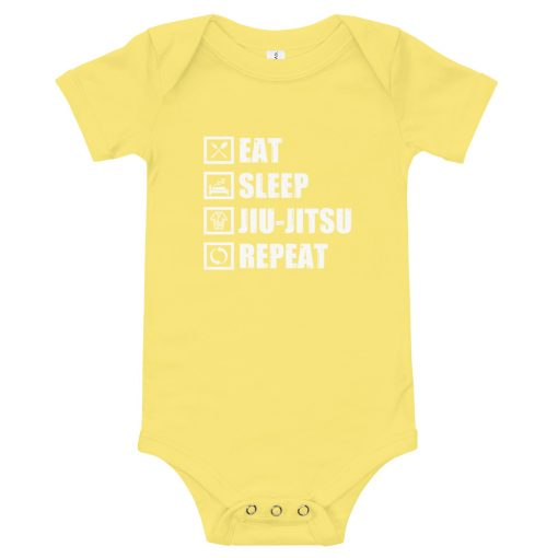 Eat Sleep Jiu Jitsu Baby Onesie Yellow