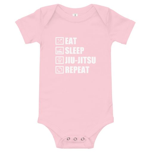 Eat Sleep Jiu Jitsu Baby Onesie Pink